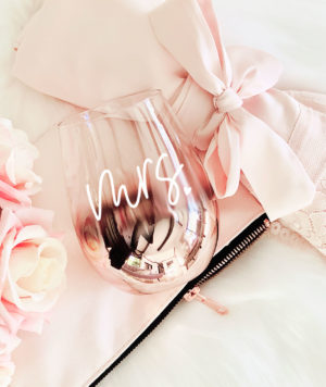 Rose Gold Mrs WIne Glass