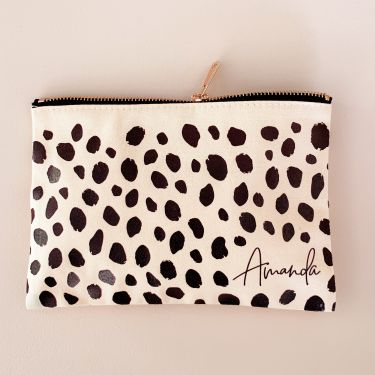 Cheetah Print Bridesmaid Makeup Bag