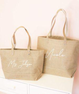 Personalized Bridesmaid Jute Tote Bag