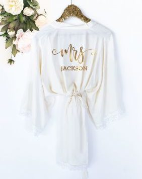 Personalized Mrs Bridal Satin Robe