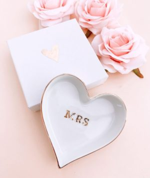 Bridal Ceramic Heart Ring Dish
