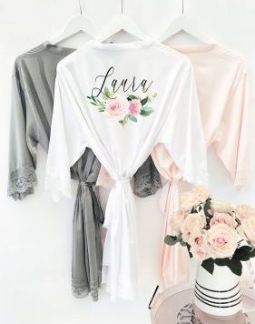 Floral Satin Personalized Bridesmaid Robe
