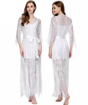 Long Lace Boho Bridal Robe